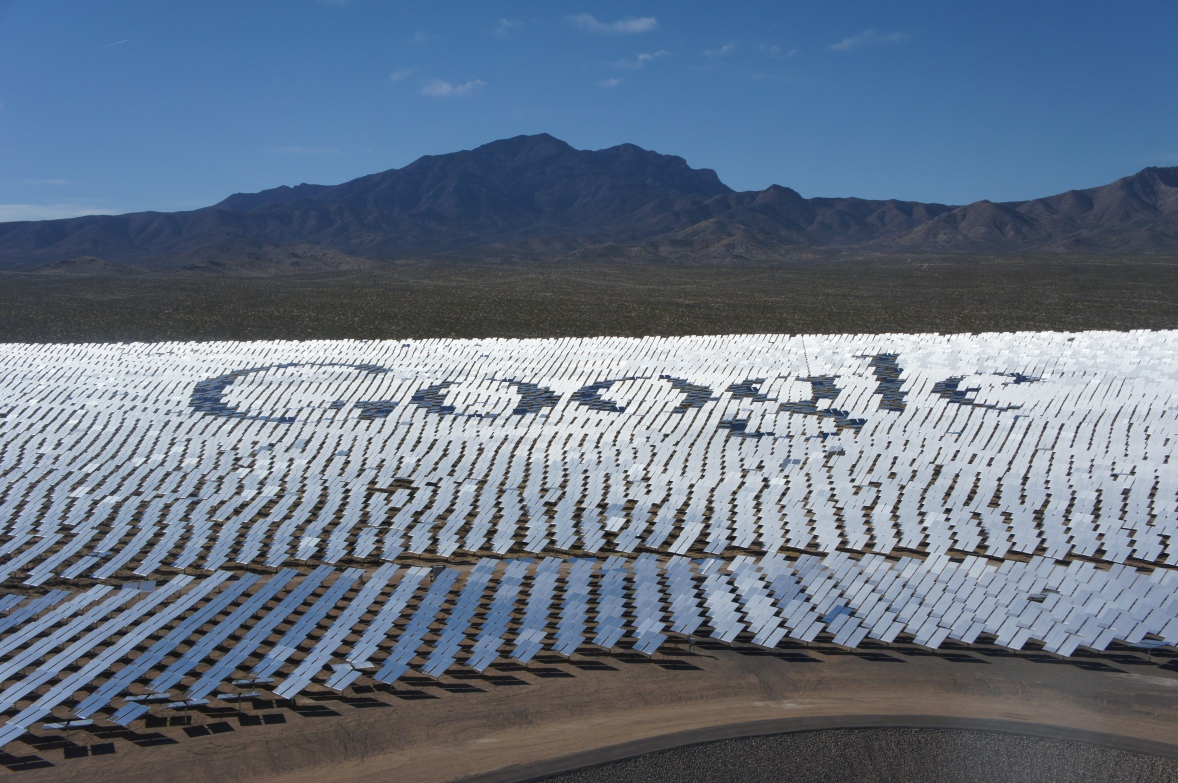The solar mirrors at Ivanpah spell out the word Google, a backer of the project.