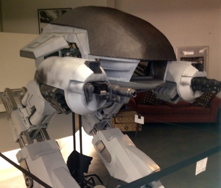 "The ED-209 recreation used in one scene of ""Our Robocop Remake"" was on display at the Downtown Independent Theater in Los Angeles, which is also host to the monthly Channel 101 screenings."