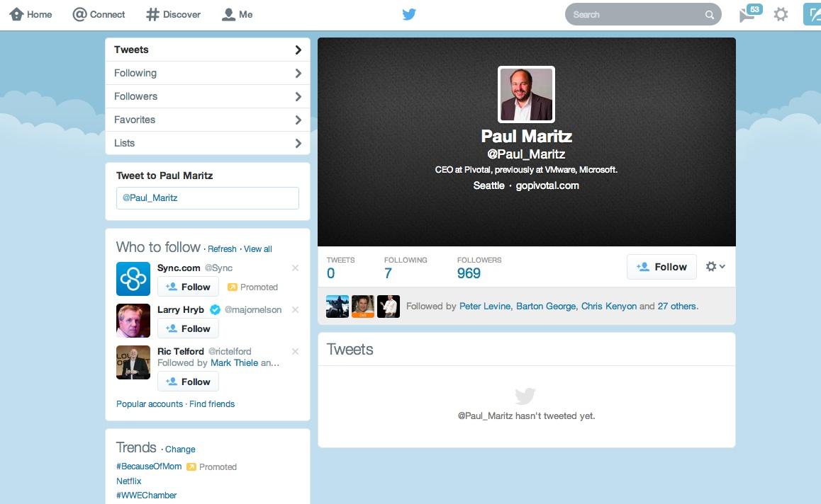 Looks like Pivotal CEO Paul Maritz is getting ready to tweet.