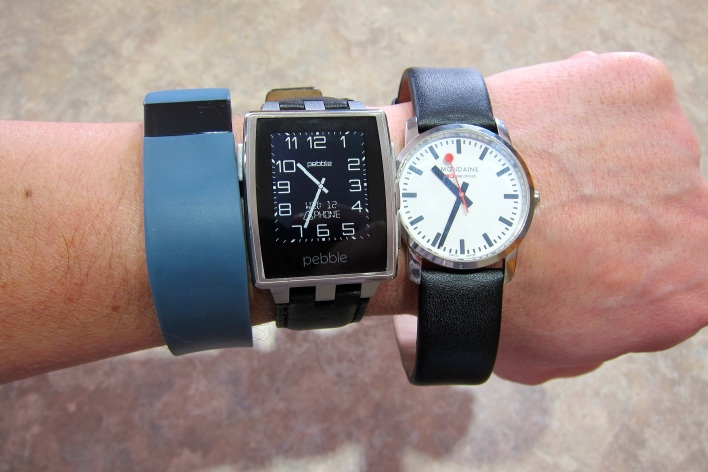 pebble steel fitbit and mondaine