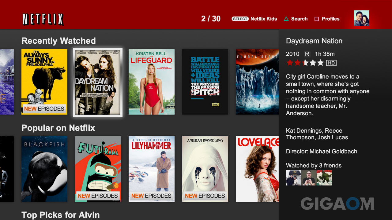 Previous Netflix TV UI gigaom