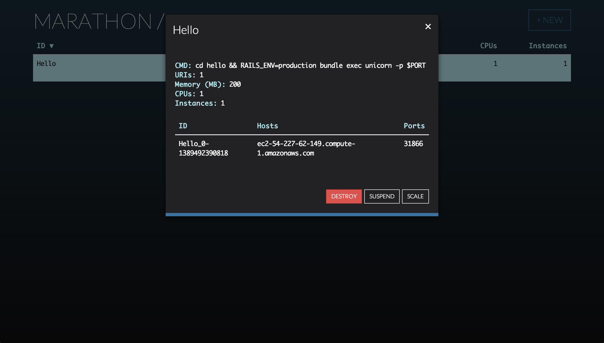 A screenshot of Rails running on Marathon.