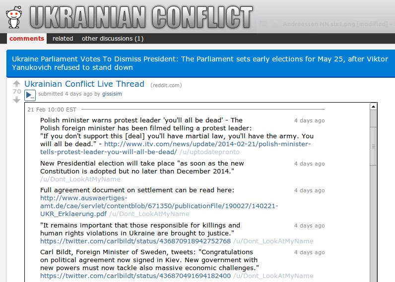 Reddit live-blog Ukraine