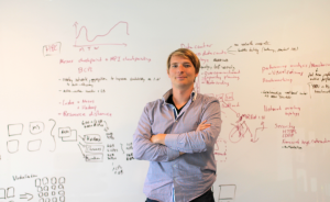 Florian Leibert in front of the whiteboard at Mesosphere HQ. Source: Mesosphere