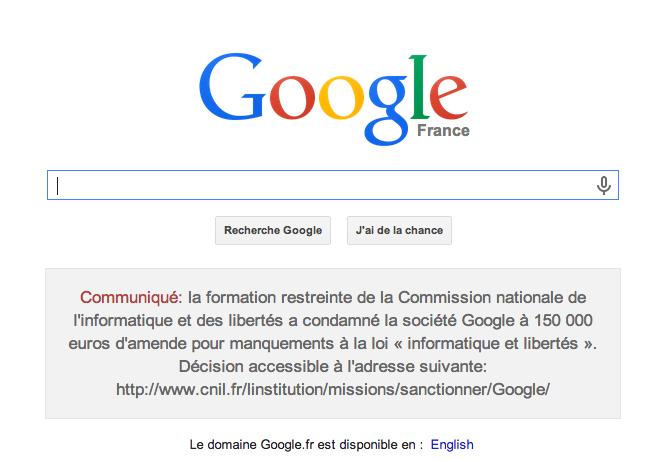 Screen Shot Google privacy fine