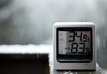 Snow falling behind thermometer