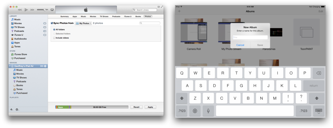 Sync from iTunes