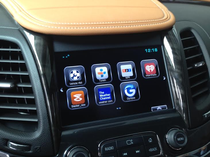 Chevy's new MyLink system in the Impala as seen in a February demo. This system never made it to market (photo: Kevin Fitchard)