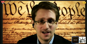 Edward Snowden in his first public speaking appearance at SXSW on March 10, 2014.