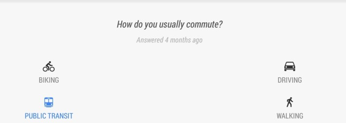 The problem with Google Now in a nutshell: It assumes that people only use one means of transportation.