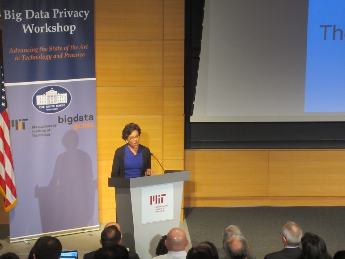 U.S. Secretary of Commerce Penny Pritzker speaking at MIT Big Data Privacy Summit.