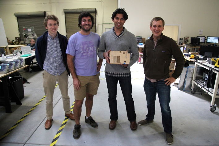 Part of the Ceres team with a prototype of their camera. Photo by Signe Brewster.