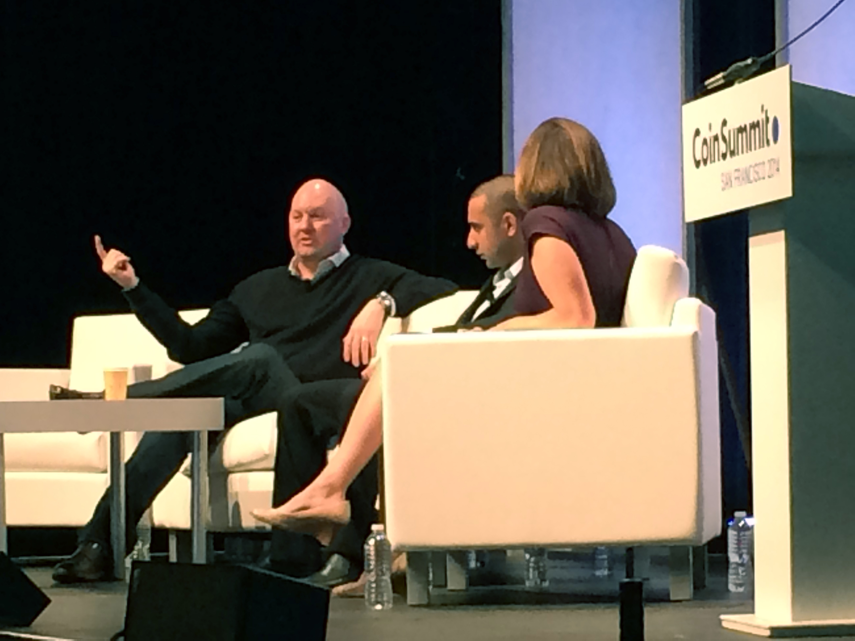 Marc Andreessen with Balaki Srinivasan and moderator Kashmir Hill from Forbes. Photo by Biz Carson/Gigaom