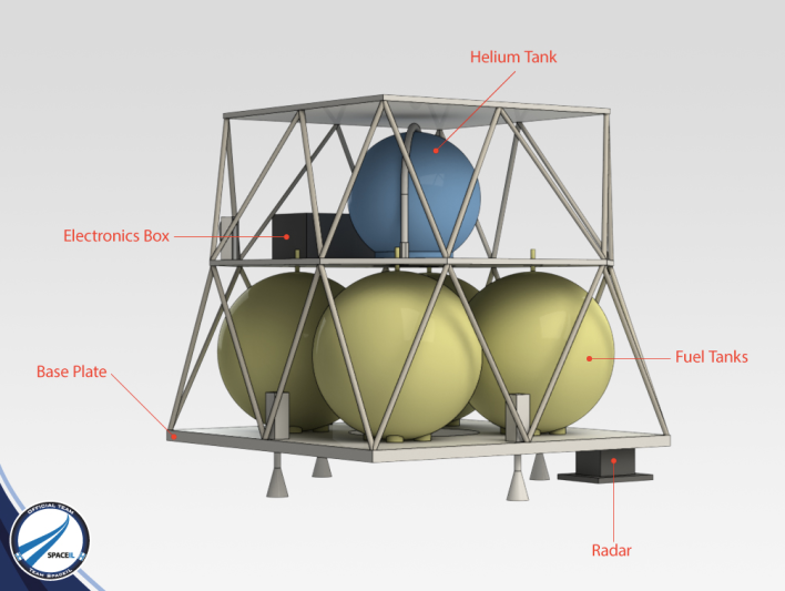 A mock up of the SpaceIL lander's propulsion system. Photo courtesy of SpaceIL.