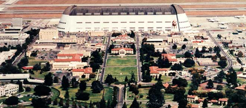 A historical photo of the quad, showing Hangar One in the back before its shell was removed. Photo courtesy of NASA.