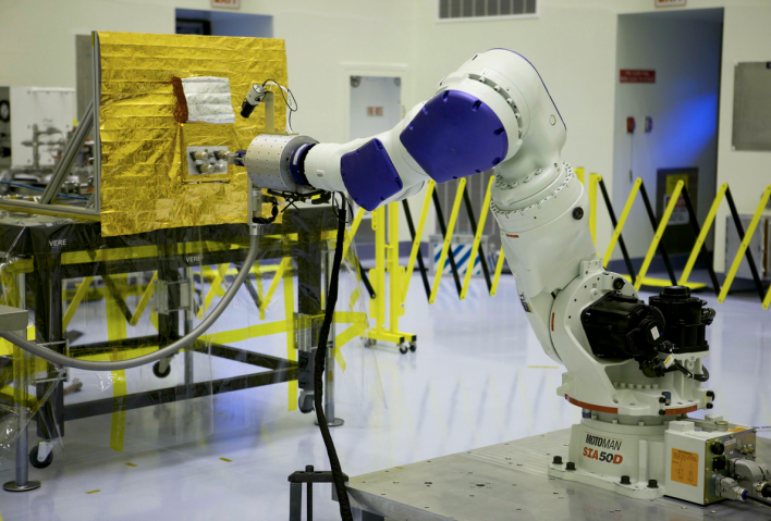 NASA tests its robotic refueling arm on Earth. Photo courtesy of NASA.