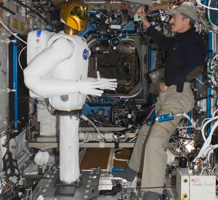 Robonaut 2 aboard the ISS, san legs. Photo courtesy of NASA.