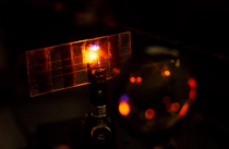 NTU's new Perovskite solar cell as seen in the lab, which was found have light emitting properties.