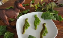 "3D printed dinosaur spinach ""quiches."" Photo courtesy of Natural Machines."