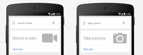 Google Search camera commands