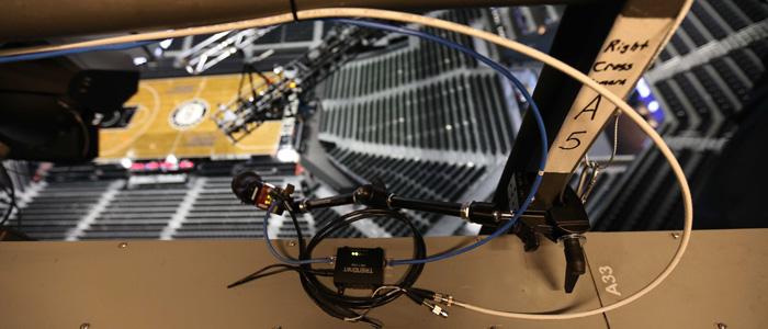 A SportVU camera above an NBA court. Source: NBA