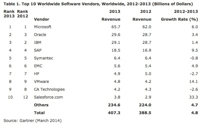 Top Software Vendors 2013