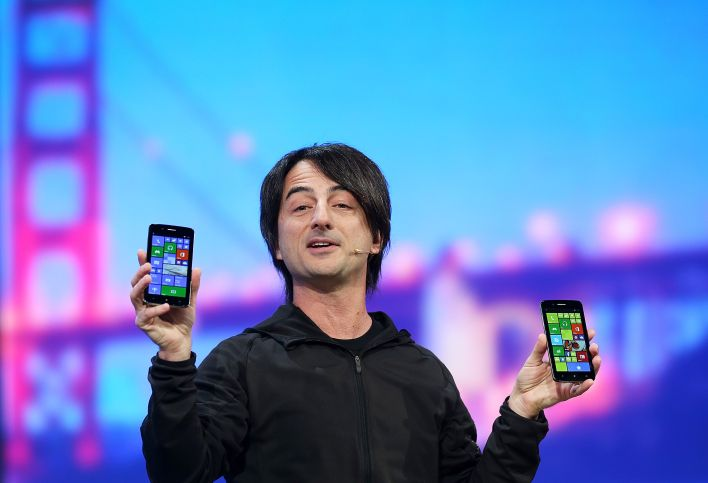 Joe Belfiore, corporate vice president and manager for Windows Phone, holds Windows phones as delivers a keynote address during the 2014 Microsoft Build developer conference on April 2, 2014 in San Francisco, California. (Photo by Justin Sullivan/Getty Images)