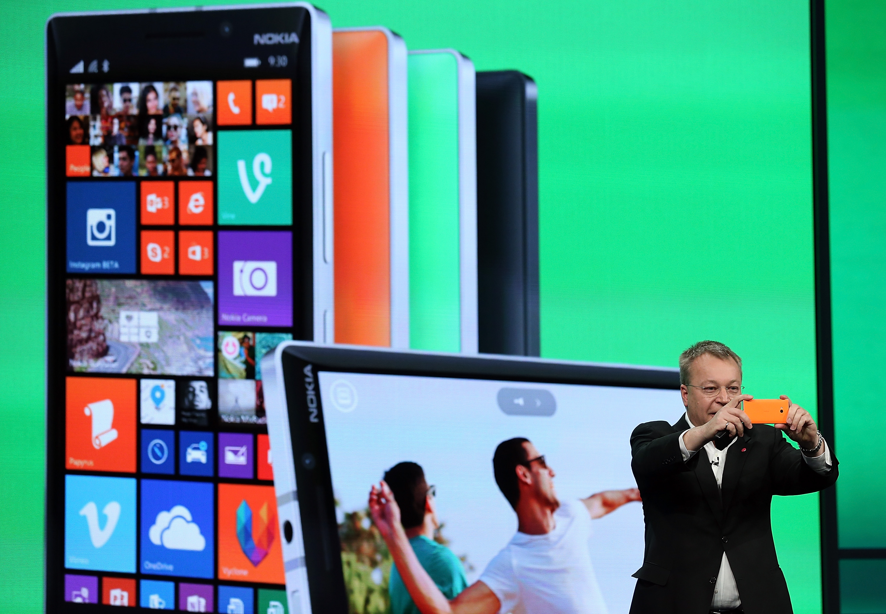Stephen Elop, executive vice president of devices and services at Nokia, introduces the new Nokia 930 during the 2014 Microsoft Build developer conference on April 2, 2014 in San Francisco, California. (Photo by Justin Sullivan/Getty Images)