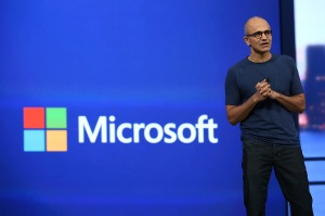 Microsoft CEO Satya Nadella delivers a keynote address during the 2014 Microsoft Build developer conference on April 2, 2014 in San Francisco, California.  (Photo by Justin Sullivan/Getty Images)