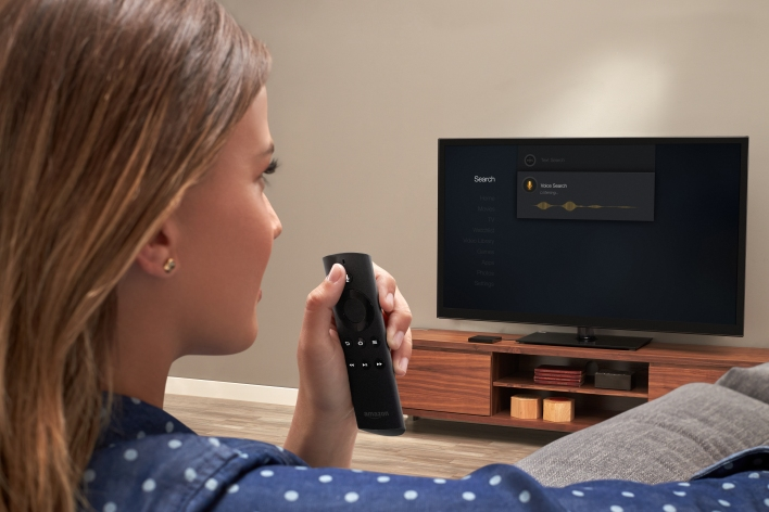 The new Amazon Fire TV uses voice search through its remote. Photo from Amazon.