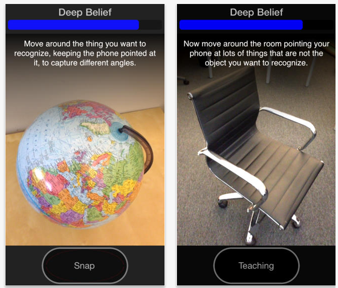Screenshots of the Deep Belief app.