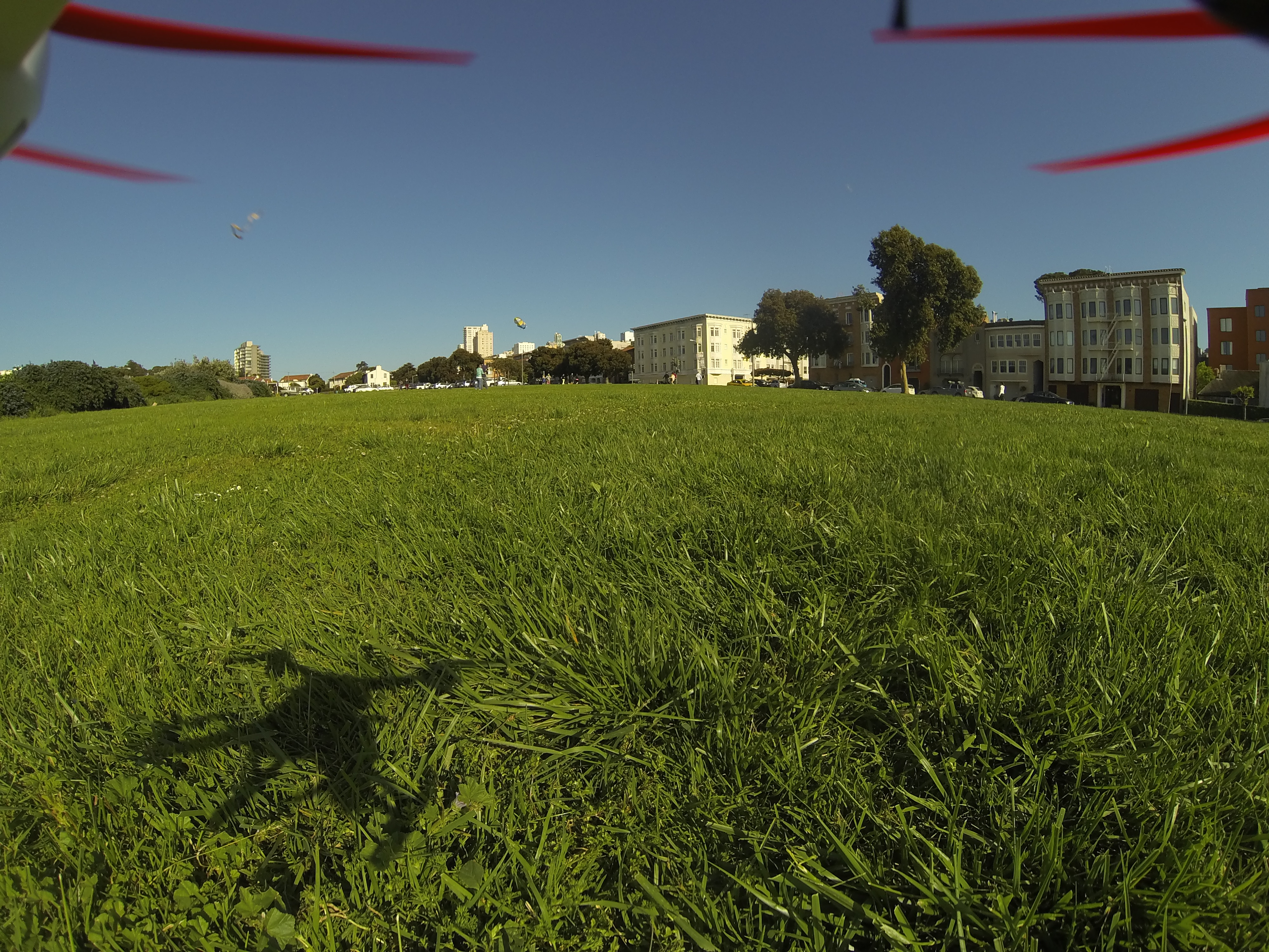 San Francisco's Great Meadow Park, as seen from a GoPro attached to a Blade 350 QX. Photo by Signe Brewster.
