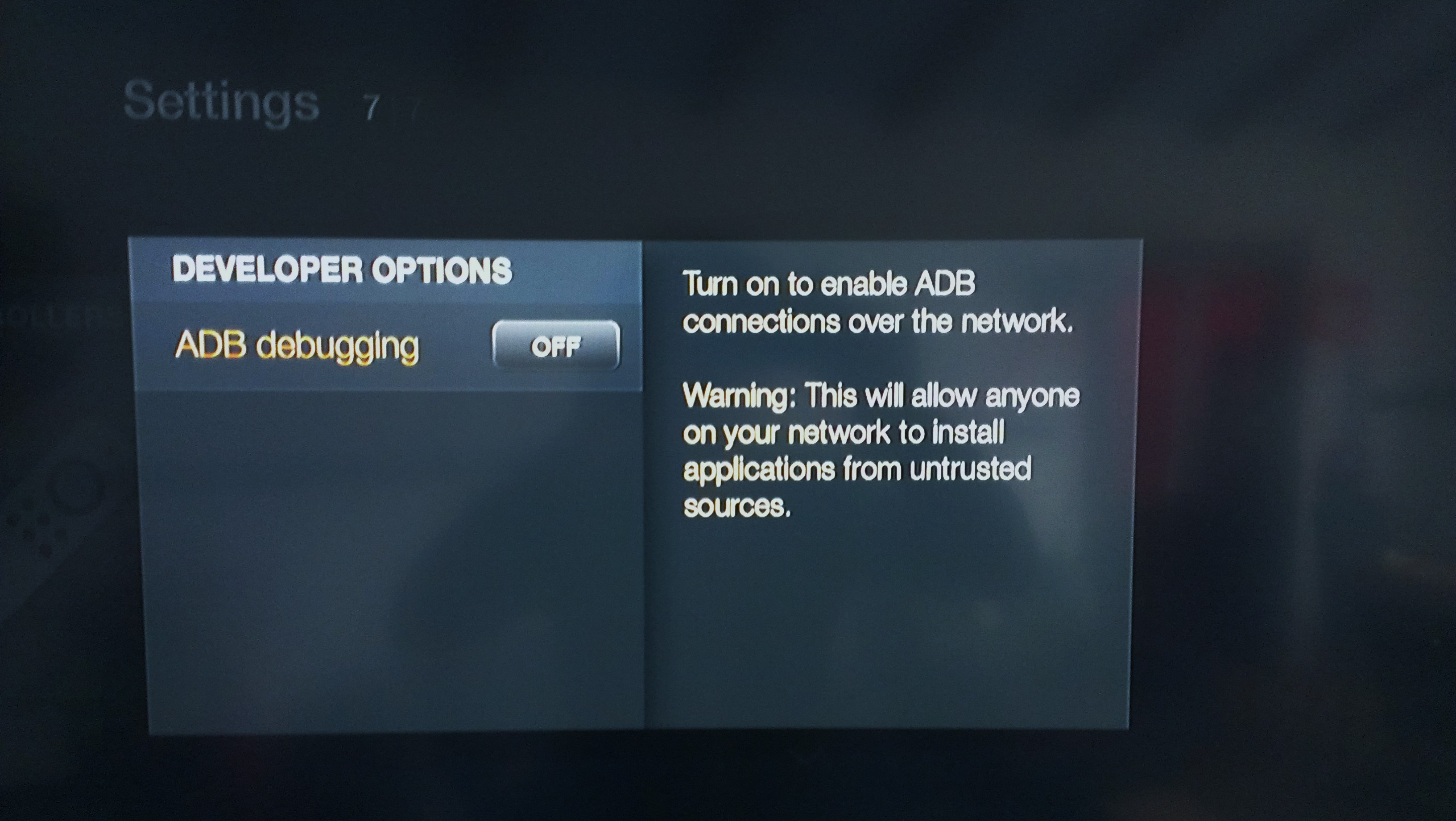 Fire TV ADB options