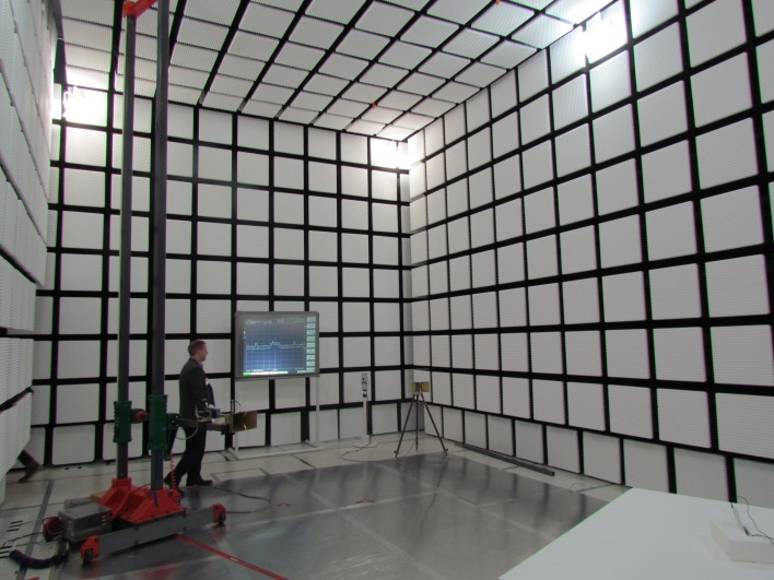Motorola's giant anechoic chamber, basically a shielded room where engineers can test radio technologies without interference.