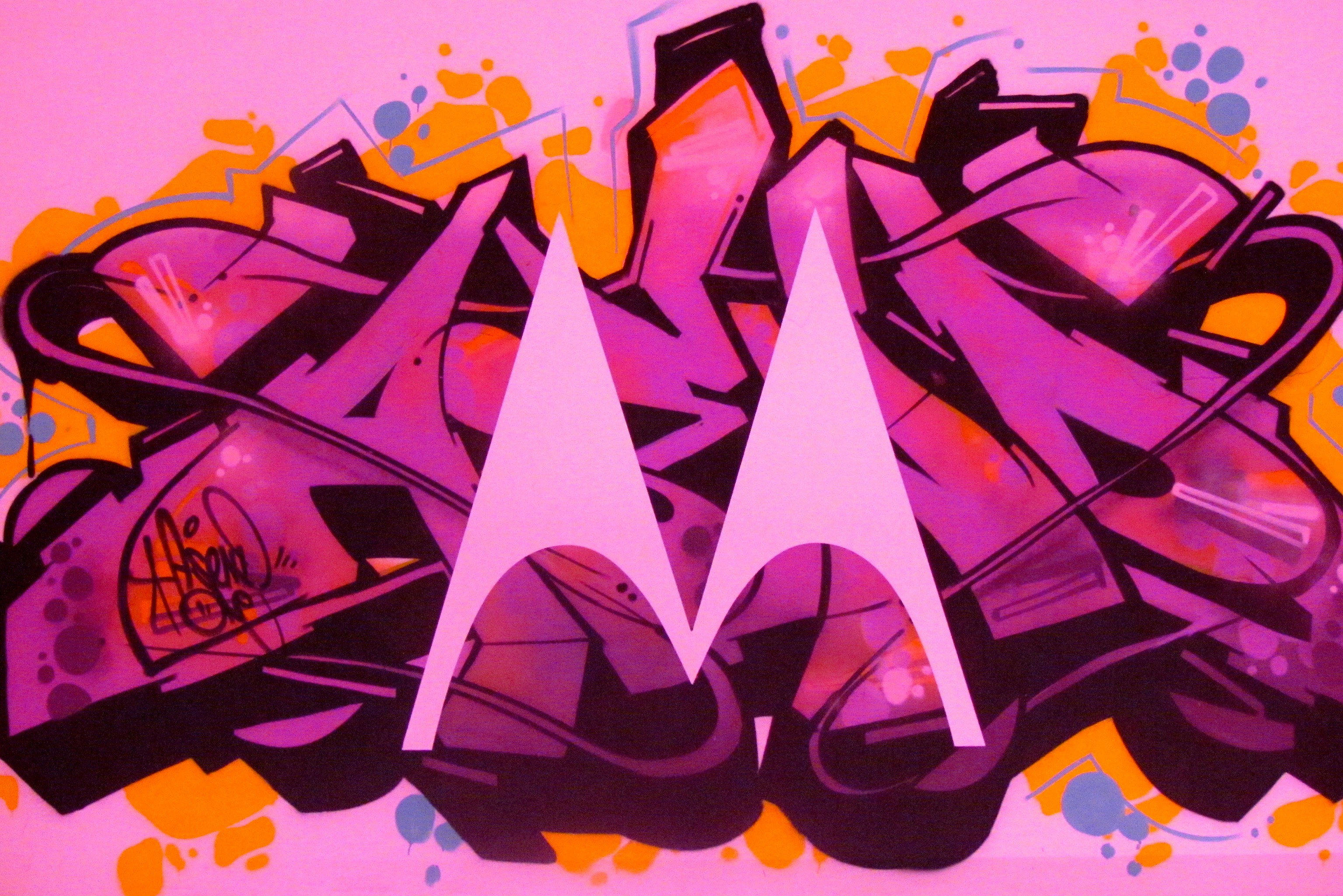 Motorola logo in graffiti