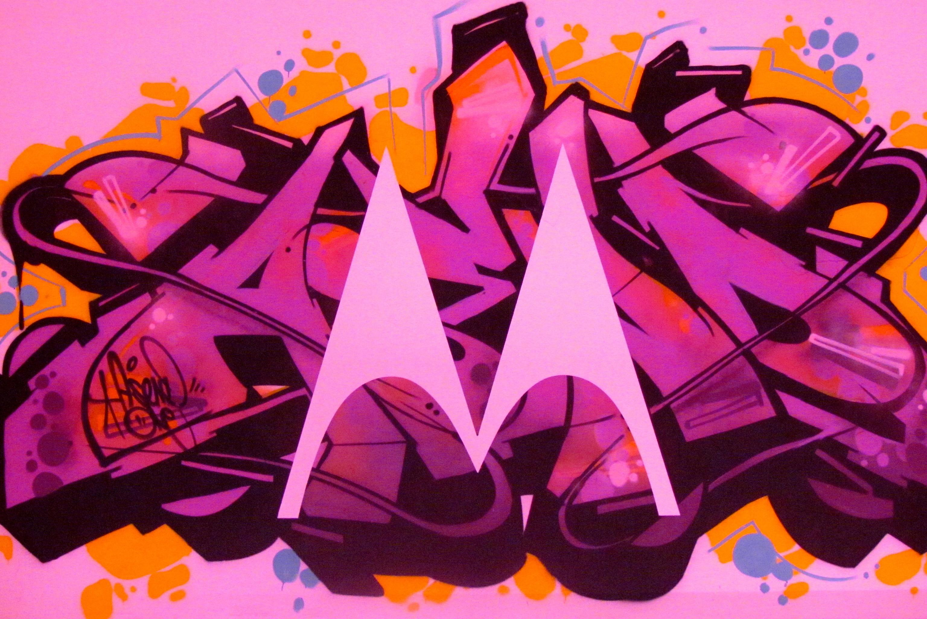 Motorola logo in graffiti