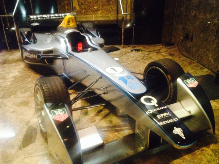 A Formula E electric racing car at the Bloomberg Energy conference in New York