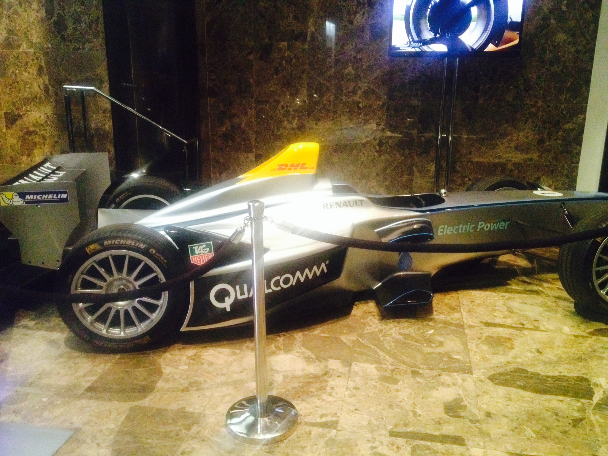 The Formula E car at the Bloomberg Energy Summit in New York