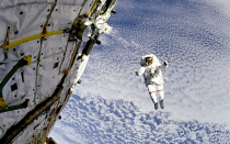 Astronaut Mark Lee floating untethered in space