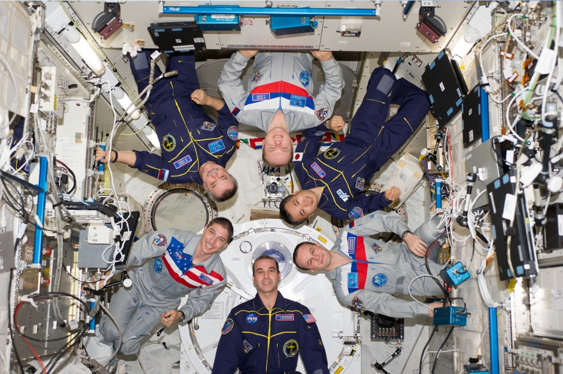 The expedition 38 crew aboard the International Space Station. Clockwise from top center: Russian cosmonaut Oleg Kotov, Japan Aerospace Exploration Agency astronaut Koichi Wakata, Russian cosmonaut Sergey Ryazanskiy, NASA astronauts Rick Mastracchio and Mike Hopkins and Russian cosmonaut Mikhail Tyurin. Photo courtesy of NASA.