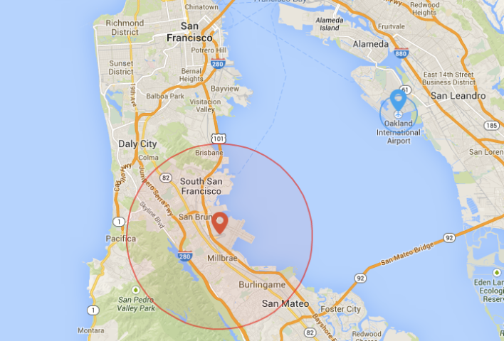 Examples of no fly zones in the Bay Area. Photo courtesy of DJI/Google Maps.