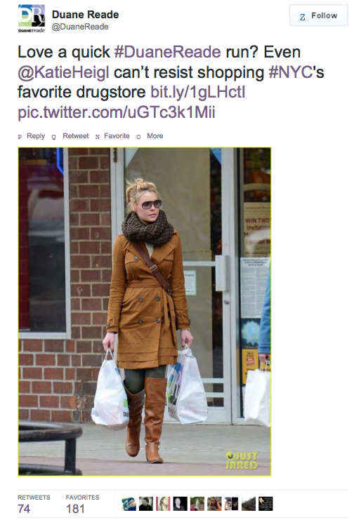 Katherine Heigl Duane Reade Tweet