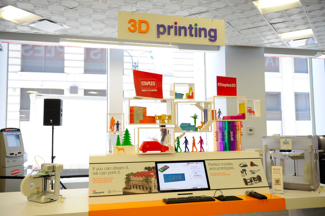 A Staples 3D printing center. Photo courtesy of Staples.
