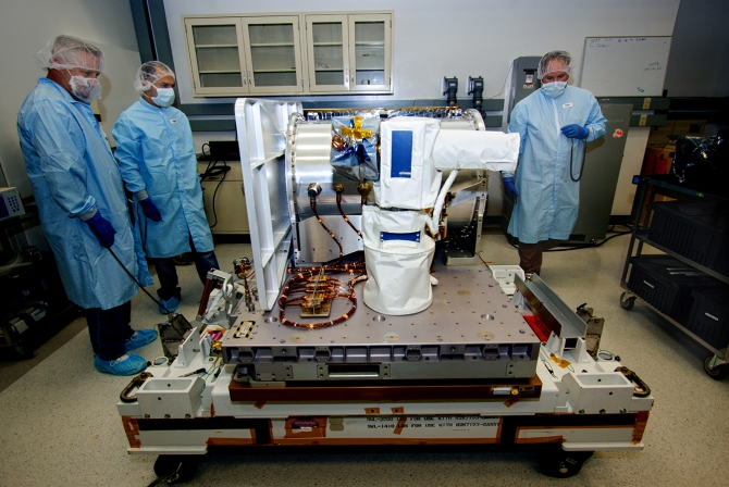 The OPALS experiment hardware. Photo courtesy of NASA/Jim Grossmann.