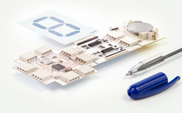Some Printoo kits include a paper-thin display that can show numbers. It could be used to create a basic counter. Photo courtesy of Ynvisible.