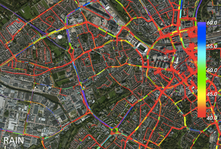 Nokia Here's depiction of traffic speed patterns in a European city (Source: Nokia)