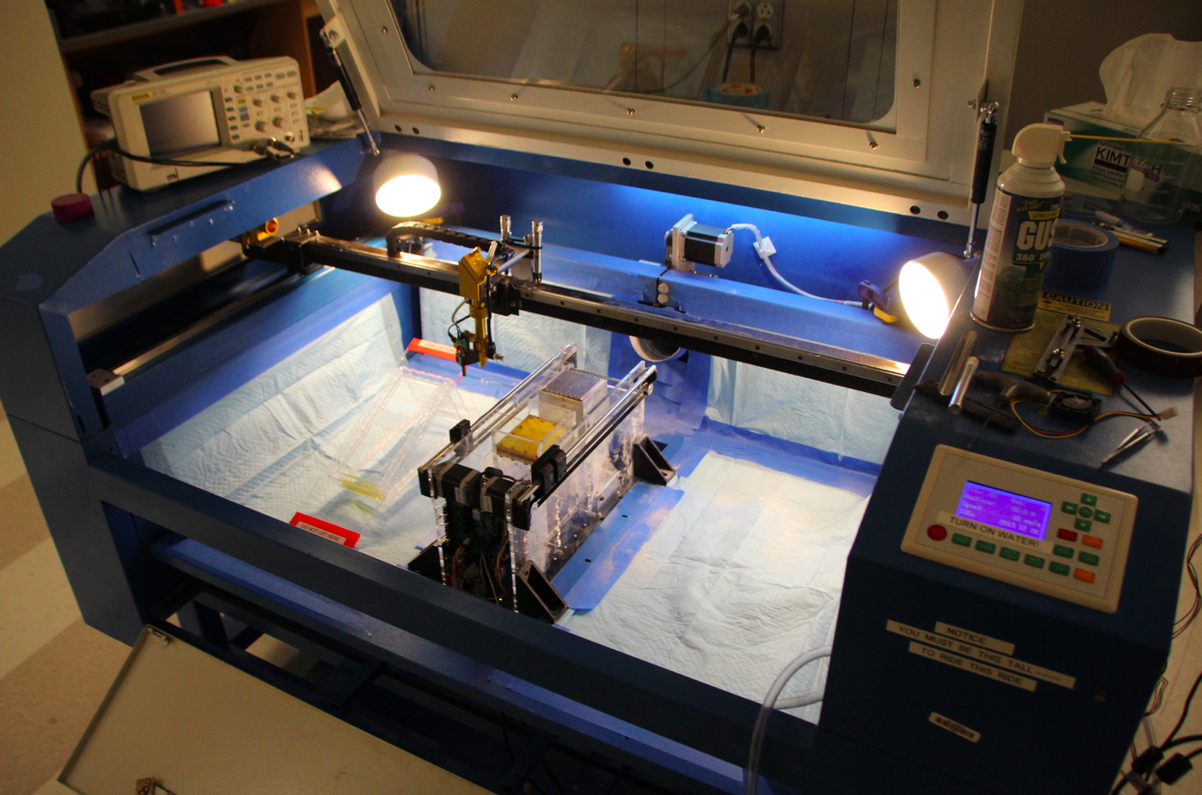 A laser cutter converted into an SLS printer by Andreas Bastian. Photo courtesy of Andreas Bastian.