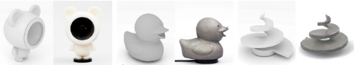 Examples of 3D printed speaker designs. Photo courtesy of Disney Research Pittsburgh.