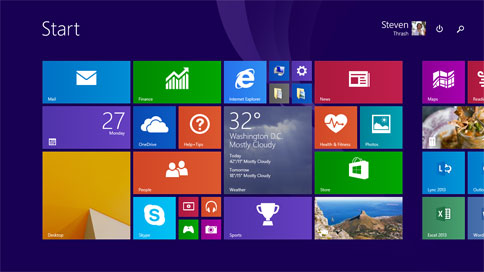 Microsoft Windows 8.1 start screen