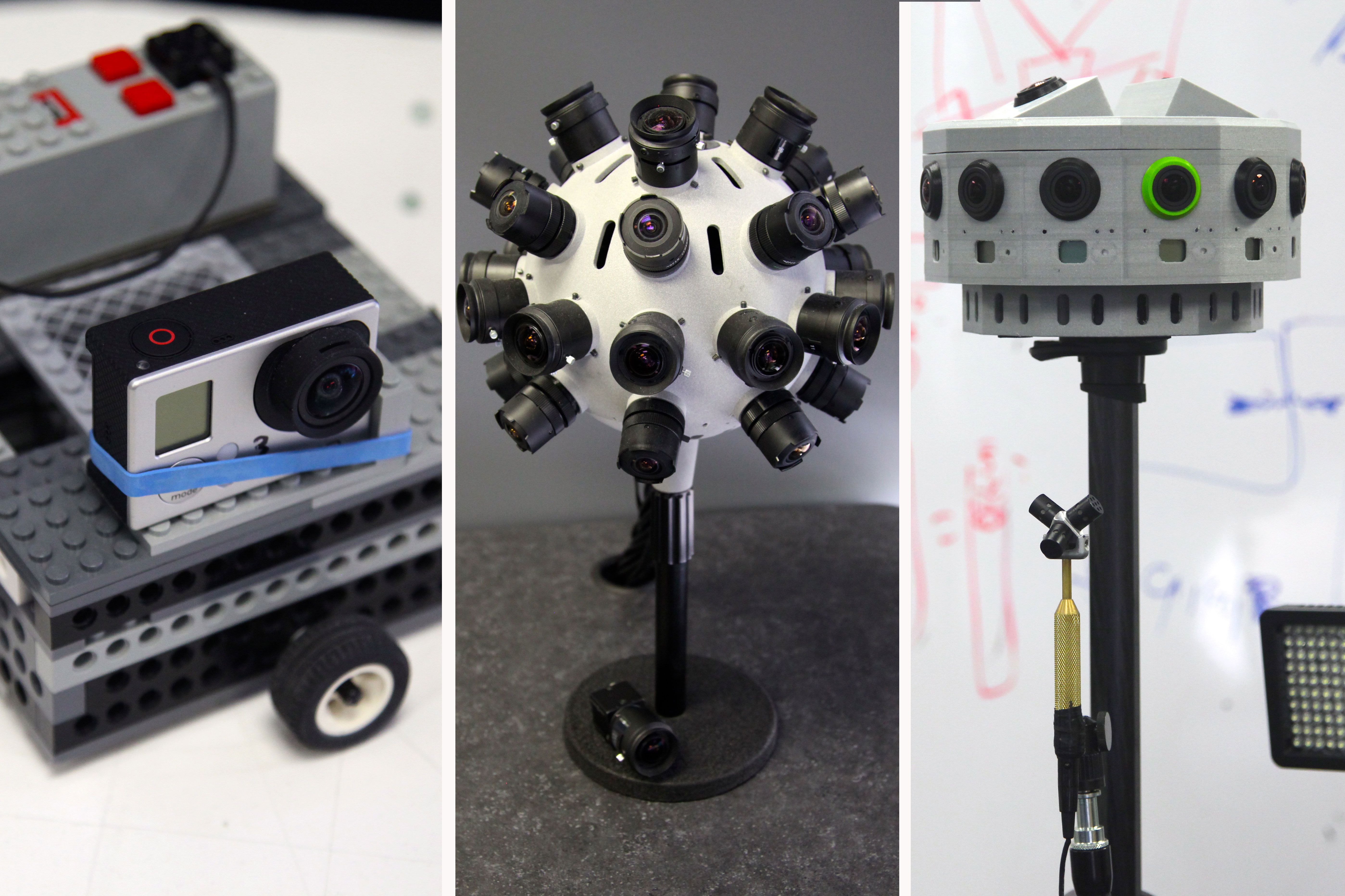 Jaunt is working on a totally new 360 degree camera, but has already shot footage on several prototypes. Its first prototype, pictured on the left, was built out of Legos and a GoPro camera that turned slowly in a circle. Photos by Signe Brewster.